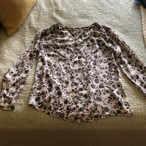 Cream with brown flowered button down blouse